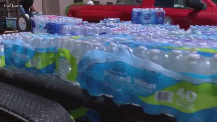 Bottle water donated to Dierks from Texarkana
