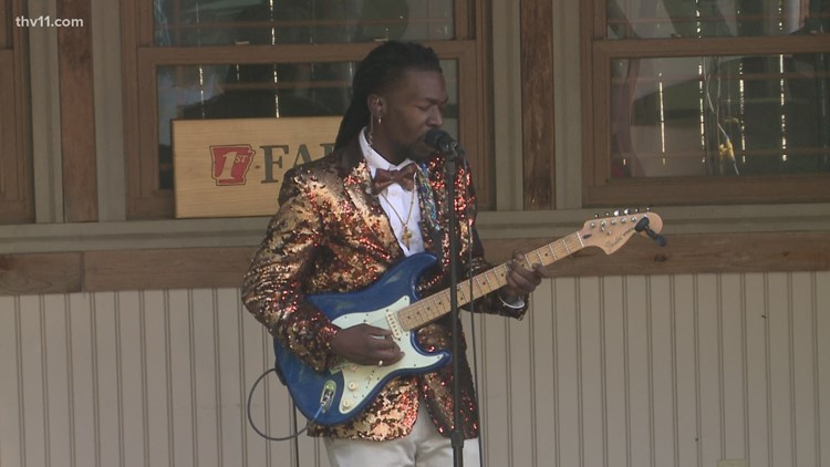 Akeem Kemp jams out in the THV11 Weather Garden