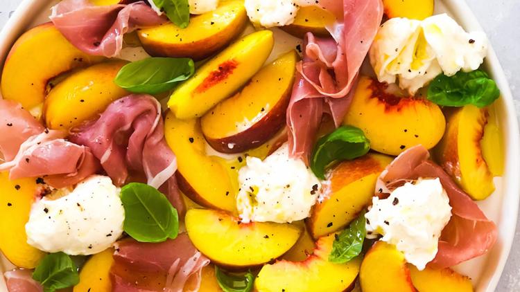 Recipes: frosty peach lemonade & peach, prosciutto, burrata and basil salad