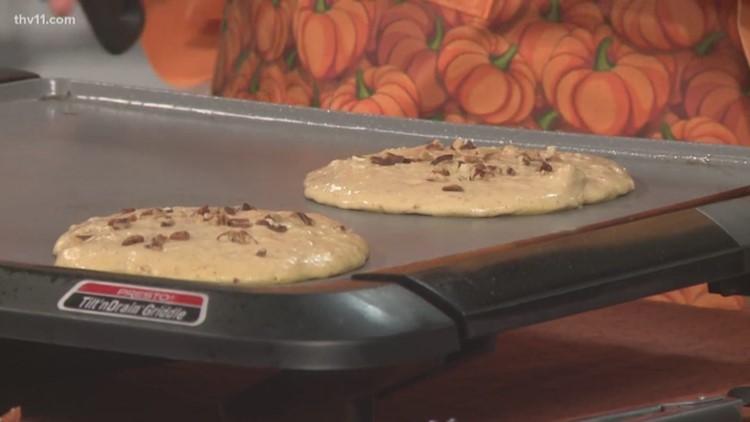 Pumpkin-Pecan Pancakes with Caramel Maple Syrup