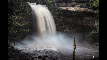 Heavy rainfall brings full waterfalls to Arkansas