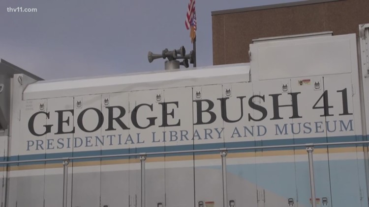 George H W Bush Train Unveiled After Being Stored In North Little