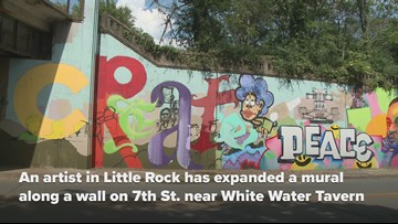 Artist expands 7th Street mural in Little Rock during Peace Week