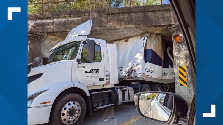 Semi-truck crashes under 6th Street overpass in Little Rock