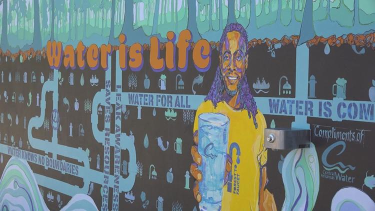New mural in downtown Little Rock doubles as a water bottle filler
