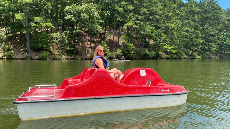Hot Arkansas summer days are best spent on the water, marina at Lake Catherine State Park