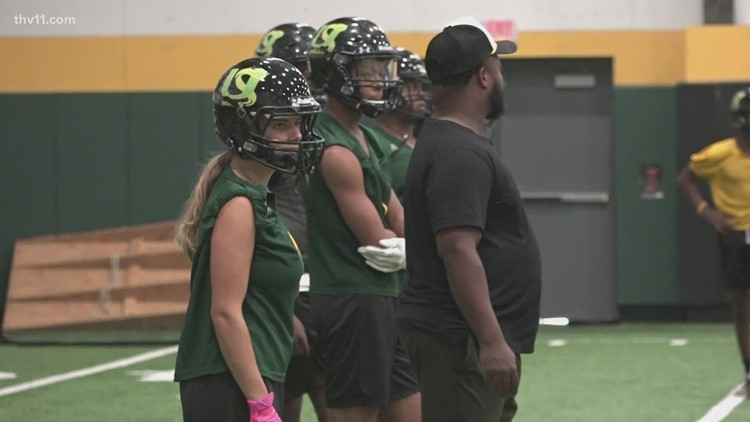 Foreign exchange student joins Arkansas school's football team as only girl player