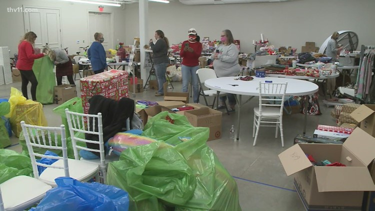 Giving out Christmas gifts to foster kids across Arkansas