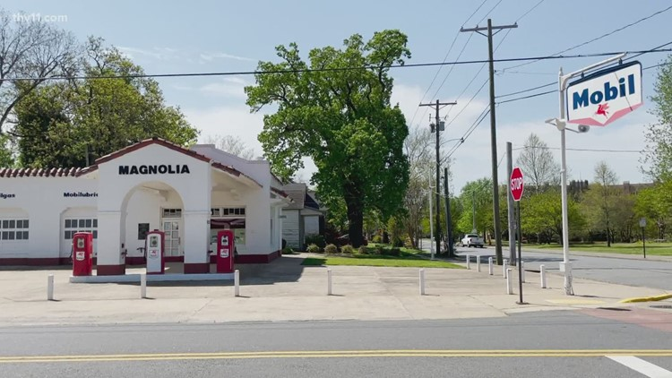 What is the significance of The Magnolia/Mobil Service Station to Little Rock Central High School?