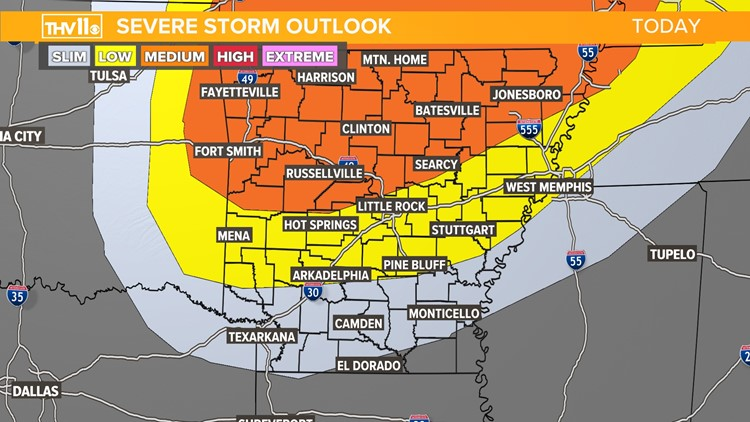 Threat of severe weather likely for Arkansas Sunday night