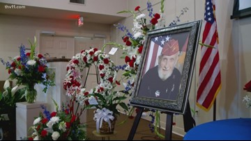 """Many honor WWII and Korean War veteran Herbert """"Lucky"""" Page at memorial service"""