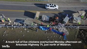 Truck full of live chickens overturns on Arkansas Highway 71