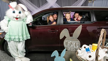 Arkansans line up for a socially distant picture with the Easter bunny