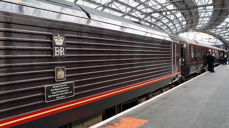 The Royal Sovereign is coupled to the Royal Train as it sits in Liverpool Lime Street train station at the start of a day-log visit by Queen Elizabeth II and The Duke Of Edinburgh to Liverpool on December 1, 2011 in Liverpool, England.