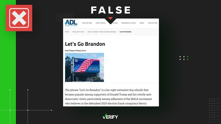 Neither the Anti-Defamation League nor Facebook classifies 'let's go Brandon' as hate speech