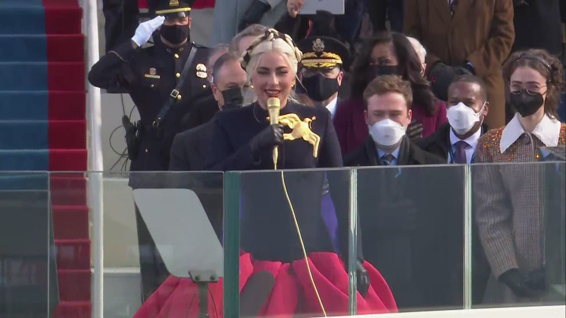 Lady Gaga sings the national anthem at inauguration