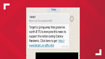 Target groceries free due to the coronavirus? The text isn't just fake, it's dangerous.