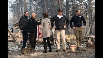 Trump tours Paradise area, calls wildfire a 'really bad one'