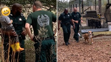 Loyal pitbull never leaves missing 3-year-old's side after he wanders off