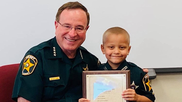 Preschooler fighting cancer becomes honorary deputy for a day