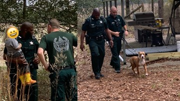 Dog doesn't leave side of missing toddler in Florida