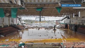 Drone flies through Panama City school gym damaged by Hurricane Michael