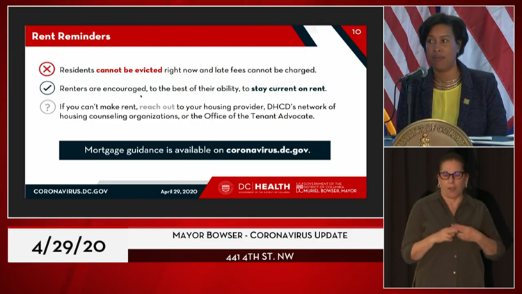Mayor Bowser encourages DC tenants to stay current on rent payments.