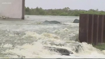 Video shows water surging through a major gap in Plaquemines back levee