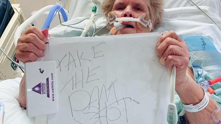 'Take the Dam Shot' Louisiana woman, unable to speak, scrawls from hospital