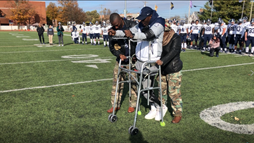 'God made that happen for me,' says college football player with paralyzing injury who defied odds to walk on field