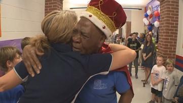 Kids treat 83-year-old custodian like a true king on his final day
