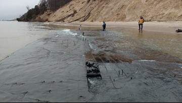 Storm surge on Lake Michigan uncovers 19th century shipwreck off Muskegon coast